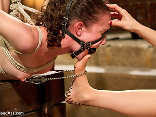 Bonnie Day Masochist Anal Slut : Bonnie Day, a petite local masochist who likes lesbian sex and punishment has her work cut out for her when paired up with Maitresse Madeline! Bonnie endures hard over the knee spanking, cat o nine tails, and is made to lick Madelines beautiful asshole and this is just the first scene! Madeline puts Bonnie in a painful suspension testing her endurance while being caned, nipple clamped and fucked to orgasm. For the final test Madeline ties Bonnie on her back, legs spread wide with her feet way over her head for perfect access to her tight asshole. Madeline tortures it with skewers then penetrates her until every orgasm is ripped from inside her tight little all natural body!
