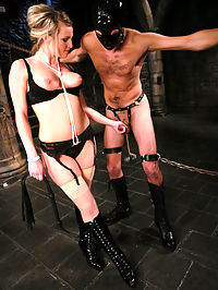 Mistress Harmony has a kept pet that she takes out to play with when she is feeling mean and horny. Tonight, her mood is dark as she pulls lefty from the cage and tests his resolve with her own style own pain, humiliation and sex. Mistress toys with leftys libido using CBT, whippings, bondage and ass fucking till she takes her fill of his hard cock to satisfy herself. When she finally allows his come to spill, it is all over her beautiful body, and her boy toy is put away for another days play.
