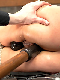 Asian Heart Breaker Jayden Lee Defiled : Stunner Jayden Lee has an incredible ass. We have no choice but to bend this disgraceful fuck slut over a barrel and give it to her hard. She is made to pull on her own nipple clamps as Claire works her over with the vibrator. She uncontrollably twitches head to tail with pleasure and is pushed in as many ways as possible. Second, she is bound to the barrel with her hot juicy ass in the air and ankles up to the pulley. Her knees are bound down to floor anchors so she cant close her legs like a good whore and her cunt is challenged to take in a big metal ball pussy hook. Final position we experiment with two things. The arms in an inescapable straight jacket reverse box tie and the body twisted in spoon. Dont let the lying on her side look deceive you. Having this hot cunt laying on a wire bed frame getting pummeled in the cunt is NOT comfy. She is tormented with tickling and fucked repeatedly with the dick on a stick and vibrator. No matter what she does, she cant escape the torment or the pleasure. Jayden is fucked.