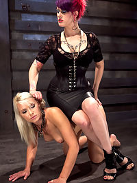 Training Anikka Albright Day 3 : Slut Albright is run through the rigors of the Pope and Goddess Soma in this third day of slave training. She is made to endure punishing spanking and humiliating boot worship under the watchful eyes of the two sadistic slave trainers. Once exhausted she is staked out on the ground, intimidated with a blow torch, and covered in hot wax before being flogged clean.