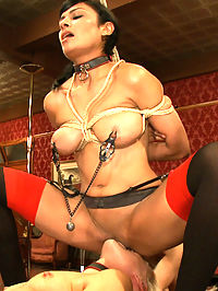House Slave Review : What exactly are these slutty house slaves good for? Mogul wants to know what the slaves have been taught, and tasks the Steward of the House to drill Ryan and Beretta James on their presentation skills, positions, and cock skills.Both sluts get their faces fucked and are drilled on protocols. Maestro bangs Ryans submissive slave ass, pussy and mouth while she is tied up and tasked with eating her slut sisters pussy to orgasm.The slaves are left coated in come and a deeper appreciation of servitude on the Upper Floor.