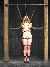 Cockateel Returns : There are great models and then there are amazing models like Darling. Best in class, she has looks, tenacity, a killer figure, and wants to be pushed. In the first scene the cockateel is encased in a latex catsuit, spread open, and kept taut with chain around her neck, ankles, and thighs. Her wrists in metal shackle stocks are bolted to the floor under her hips. She looks a little warm so Claire cools her off and torments her with some nice ice cold water. Her beautiful breasts burst out of her catsuit and beg for clamps. Second, Darling is bound standing with her elbows wrapped around metal pipe in between two pillars. Head to toe she is strapped with leather, showing off her crazy bust-waist-hip ratio. Her breasts are trapped in leather straps and attached to chains as is her head with a leather gag harness. Claire single tails Darling. Deliberately, slowly, intensely. Darling is on edge with every lick of the tail. Now, its time to challenge her. Claire takes Darlings legs and attaches them to chains, placing Darling in a very challenging breastelbowanklethigh suspension. Finally Darling is bound in a wide spread on a custom pedestal chair made to her measurements. Claire loves hearing Darling beg. This time, Darling has to beg to be hurt - a favorite game of Claires. The more intense the pain, the more intense the pleasure. Watch and see how much this hot cunt can cum when the lines are blurred.