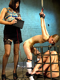 Kissing Co-Eds : When Sensi Pearl and Lizzy London get caught in Bobbi Starrs office making out, Bobbi teaches both the girls a lesson in self control and lesbian punishment. Predicament, sticky pads, acrylic plug and the taser are all used on these cute co-eds.
