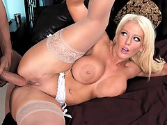 Analyze This : Bigboobed blonde Alura Jenson kicks off the New Year with a big bang in her first hardiSCORE i scene. Alura has a huge orgasm as she rubs her clit fast and furiously while being fucked in the ass by JCs big dick. She tells him to cum inside her ass and while the manjuice comes out of her ass after he pulls out, Alura sucks on his shaft to get the remainder. Shes a wild one! br br I actually managed to have an overwhelming, genuine orgasm about three minutes before he came in my ass. It was beautiful. Kinky fuck put his dick straight from my ass into my mouth to let me taste those last few drops of cum off of his dick, blogged Alura.br br I am an assertive woman, says Alura. If I want sex, I go for it. I love sex many times a week. It satisfies me best if theres an emotional connection but there doesnt have to be. br br Please give Alura your props for her nonstop cock rock.br