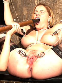 Snobby Bitch : Krissy Lynn returns to Whipped Ass in this sexy role play fantasy. Krissy plays a snobby art curator whos sent to an abandon warehouse as a potential spot to hold an art show. There she finds the tough and sexy Lea Lexis, a Romanian squatter using the warehouse as a place to sleep. Lea isnt amused at the rich bitch invading her turf and uses the opportunity to have a little fun Whipped Ass Style! Krissy is flogged, paddled and spanked, fucked deep in her ass and is made to lick pussy. Shes bound wide open with pussy clamps and made to cum against her will! Lea Lexiss evil but seductive dialog torments Krissy throughout!