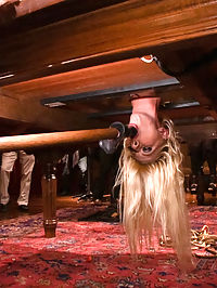 Busty Blonde Bombshell Bent Doggy Style and Fucked : Lorelei Lee takes blonde bombshell Riley Evans to a party she will never forget! With her head locked down into a table and her ass held helplessly in the air she cannot see what will happen to her body as the crowd begins to molest her exposed and helpless holes.