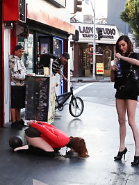 Girl Next Store Shocked and Bound in Public, Ass Fucked, Humiliated : Jodi Taylor is bound in handcuffs and given a crotch rope of unforgiving steel attached to a heavy metal ball and paraded down a public street. Sticky pads with remote controlled electricity are added to the backs of her thighs causing her to yelp and squirm uncontrollably while the public watches. Like a dog she drinks from a water bowl and has what she cannot finish thrown in her face. She is then taken into a bar where she is ass fucked, slapped, spit on and humiliated before being chained in the bathroom and left to be used by strangers.