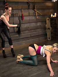 New Submissive Slut Bailey Blue : Welcome newcomer Bailey Blue to Whipped Ass. Bailey is new to punishment and submission but comes with an eagerness to learn and please. Maitresse Madeline shows Bailey the ropes and teaches her that all little pain sluts have to start at her feet. Bailey takes gloved OTK spankings, evil zipper, pussy torture and is made to lick Madelines pussy to earn a deep strap-on anal fuck!