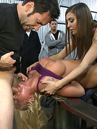 Busty Blonde Defiled in Public. Pretty Hair Used to mop up Oil : Leya Falcon is a sexy blonde with big tits and a sweet round ass. She thinks she can take a lot of pain. She thinks she wild. But theres nothing like a Public Disgrace scene to see what someone is really made of.She is dragged into an auto body shop at night where the workers are more than happy to grope, smack, and humiliate the little princess. After she is overwhelmed, fucked hard, and made to squirt we turn her pretty blonde hair brown by sticking her head in a filthy bucket of water and making her clean her mess off the oil covered ground.