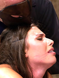 Sgt Major vs Casey Calvert : Casey Calvert submits to well known bondage rigger Sgt Major on HogTied. The Sarge torments this super hot brunette super uncomfortable bondage. In scene one, this bitch is stripped of all her clothing and bound with her arms spread standing and a nice neck rope. Sgt squeezes cum from this cunt and rewards her with an intense crotch rope predicament that pulls her hot cunt far away from the wall. Second, she is bound on the y frame face down. Sgt gives her ass and feet a nice caning and adds an anal hook. Her tight cunt is then stuffed tight with a dick on a stick. Third, Casey is bound face down and pleasured with the vibrator on her sensitive clit, but clearly its pleasure before the pain. Sgt Major transitions her bondage into an intense ankleelbowchest hogtie and all she can do is suffer. Finally she is bound in a simple but effective steer tie. The Sarge pushes her with corporal and then hoists her bondage up, exposing her amazing ass. He then goes after her cunt and clit until she cant take it anymore.