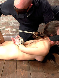 Sgt Major Returns Dominating Serena Blair : Welcome back Sgt Major and welcome Serena Blair! First up Sgt man handles this slut who looks like she came straight from the mall by binding her progressively into a tight hogtie and shoving a nice thick dildo into her ass. Second Serena is made to walk a brutal and really uncomfortable crotch rope. The Sgt torments her with clothespins, using the cane as incentive to move her ass across the room and finishes her on the floor, turning Serena into a puddle of cum slut. Third this bitch gets subjected to a very intense hogtie suspension. Finally she is bound on the floor spread eagle. Sgt Major slides a nice butt plug into her ass, adds a crotch rope, more clothes pins, and challenges this slut by double penetrating her pussy and ass at the same time.
