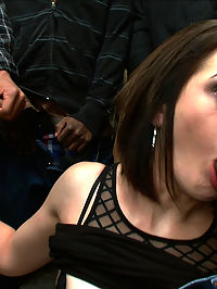 Hot Slut Pays off her Boyfriends Debts with her Body : In this fantasy role-play update Sarah Shevon plays a girl who has to pay off her boyfriends debts with the most valuable thing she has on her, her body. Her clothes are quickly stripped away and she is made to suck big black cock in this smoking hot interracial gang bang!