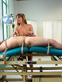 The Check Up : Lexi Love is a gorgeous, new Domnatrix to MIP but she is right at home beating men and fucking them up the ass with her huge strap on cock. Rico takes all of her giant cock in his ass while tied up and suspended, and begs for more opportunity to please the demanding Mistress, like eating her pussy and giving her a hard cock to ride, all while enduring the pain she gives him in exchange for the little pleasures.