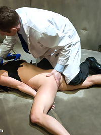 Sexual Research : In this fantasy role-play, Mia signs up for a medical research program to help pay for her college tuition. Not realizing that it is of a sexual nature, Mia is locked inside a padded room and manhandled by a psychotic doctor. He rips off her clothes, puts her in handcuffs and aggressively fucks her mouth and pussy and eventually fucking her tight little asshole. The research continues with Mia gagged and bound helplessly spread open with her big natural tits wrapped up tight and clamped. She gives in to the doctors relentless fucking of her ass and pussy and comes hard from the addition of a powerful vibrator. She is bound again in another position where all her holes are worked over with rough treatment. Then she is flipped onto her back with arms tied under her breasts, lifting them up for a grand view as the doctor face fucks her reclined head and covers her pretty face with his load.