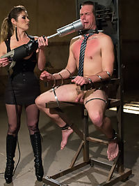 4 Rules Of A Dominatrix Dungeon With The Fleshlight Pussy Machine : John Jammen runs his own business when outside the Armory walls but when inside he craves to submit to a strong beautiful woman. Felony loves turning out men who have to be the boss in their personal life because they need the punishment and discipline most! Felony gives John 4 rules and 4 rules only while he is in her dungeon, fuck em up and you pay the consequences! John of course breaks the rules in the first scene and who wouldnt when such a gorgeous woman like Felony is dishing out delicious pain and then sets him up for disaster with the machine powered flesh light pussy driving 100 miles on hour on his dick??!?!? John loses his load to say the least and pays for it for the rest of the day with tough suspension bondage, licking her sweaty asshole clean, being used as a cum bucket and having to drink all her squirt, whipping, clamps, cock and ball torture, strap-on ass fucking and having to look at her pussy while wearing a dildo gag and never getting a piece of it! See you next time, Johnny boy!
