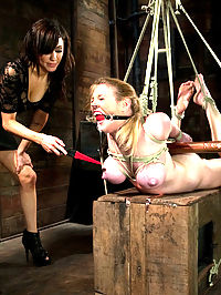 Big Tits, Tight Bondage, and Bad Ass Electrical Toys : Darling returns to Wiredpussy for a long day of predicament bondage, electricity, ass hooks, and orgasms in the hands of one of the most loved and feared, femdoms in the world, Princess Donna.