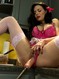 Want her cookie? Squirting MILF whips up machine orgasms in her Kitchen : Veronica Avluv is back and dolled up kitchen housewife best - apron and lace panties included. Shes sassy and cheeky while she bakes cookies for you before revealing her naughty side and fucking on her counter with a modified custom cake mixer that pounds her pussy. Veronica is a fan favourite and a member requested demanded really! model who won us over in her first appearance on the site when she squirted and rode the sybian for the first time. The look of surprise, shock and all out orgasm triumph all over her face. It has taken us a while to get Ms. Avluv back and we are pleased to have her fucking the custom cake mixer and 4 other machines.