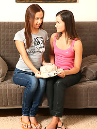 Ashlie and Flora - Strapon Lesbian - Two cuties fuck to with a strap on