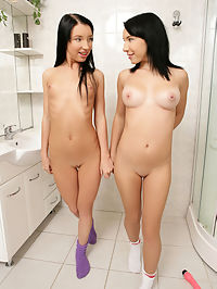 Aliz and Miri - Dildo Love - Two cute brunettes enjoy a dildo