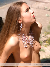 Look down. Part 2 : Super beauty Alena shows her hairy pussy on the high cliff.