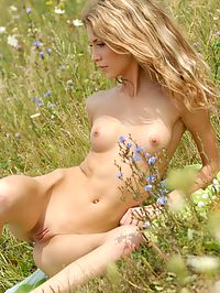 Spring : Blond beautiful angel with slim body poses naked on the spring field.