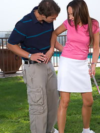 Michelle Lay : Sexy brunette Michelle Lay gets pussy fucked after she played golf outdoor