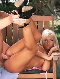 Candy Lee : Blonde babe Candy Lee in pink panties sucks and fucks a guys cock outdoors in the garden
