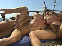 Rita Faltoyano anal fuck on the boat : Busty pornstar Rita Faltoyano gets anal fucked and sucks cock on the boat