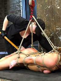 20 year old Ashlynn and ginger Odile get shown the ropes and defiled! : Welcome both Ashlynn and Odile to HogTied. Both bitches are up for a hard challenge today with uncomfortable rope bondage predicaments, pain, and VERY intense orgasm play. First up is Ashlynn Leigh. This hot 20 year old Texan gets turned out with rope bondage. We begin with her tied in a nice bent over straddle spread. Her cute bubbly personality quickly becomes turned on and fascinated by the bondage and the inescapable aspect of her tie. Her nice round ass is clearly on display for the taking. A nice cold anal hook is added, fingers in her tight young cunt, and a good flogging to redden that butt.Second, Ashlynn is bound in a standing worm tie predicament. Claire alternates tormenting her with the cane and the tazapper, making Ashlynn shock herself in the pussy! Our inexperienced starlet is pulled up even further to balance on her toes and then vibrated to orgasm. Her bondage is transitioned on the ground into a nice HogTie. Orgasm after orgasm is wrenched out of her pussy and ass and clit. Again and again the 20 year old cant stop from cumming.Finally, welcome red head Odile. Claire is not easy on this one. Odile starts in a modified steer tie on the floor. On her face is a ball gag, panty hose, her panties, and then its all taped on over the mouth, creating a breathing and sensory predicament. Claire torments Odile, playing with her like a piece of meat and then transitions Odile into a full suspension. Adding nipple clamps and a nice ass treatment, we want to see this bitch cum!