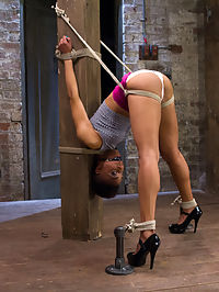 Live! Feisty whore- bound, tormented and fucked! : Extreme bondage and strap on fucking-live! Not only is Nikki Darling hot, adorable and fit- she also has a very high level of endurance and pain tolerance. This makes her the perfect plaything for this show. In the first position she gets whipped with the single tail while bent over tied to a pole. The Audience encourages her to be a good whore and say thank you and cruelly denies her orgasms. Clair keeps it intense with clamps, hooks and weights.In the second pose Nikki is in a childlike seated position but with a severe face harness and clamps on her tiny tits. The audience still says no as she whimpers and begs to cum.Finally we see Nikki on her back like the whore that she is with her legs bound firmly above her head. She gets treated to clit and nipple suction and a hardcore zipper while Clair fucks her tight pussy with a strap-on.