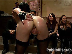 THE LAST LAUGH Audience of 70 Humiliates Juliette March, Giggling Tight Bodied Whore!! : Welcome back to the Armory!! This time around Juliette March submits to Lorelei Lee in front of a horny 70 attendees. The shoot turns into a rodeo like orgy as guests fondle and finger this wanting little slut. Shell do anything for attention and the audience puts her through the humiliating tasks of barking like a dog, singing, im a little tea pot, and getting her to oink like the little piggy she is! Karlo Karrero, Mickey Mod, Lorelei, and Mia Gold all get in on the action with a dramatic finish including an ANAL POUNDING, FISTING, and juliette made to wear a STRAP ON and a DILDO GAG while Mia and Lorelei CUM CUM CUM all the way HOME!!