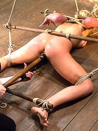 Ballet boot girl hogtied on bed 8