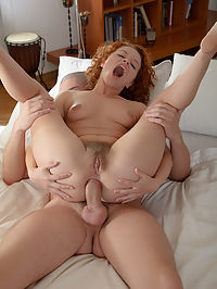 Cute redhead takes a thick cock up her ass : Perky redhead Avina is a freak for anal and her boyfriend likes to keep that tight little ass stretched and ready with toys. When her boy finally comes home she has to show him how shes kept the toy in her ass. This dude loves to take it out and fill Avinas gaping hole with his cock until she screams, and then he fucks her some more!