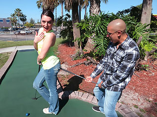 Get My Ball In You : Enticing naughty girl Nikki Lavay sucks and fucks a lucky dudes cock after she gets beaten in a golf game