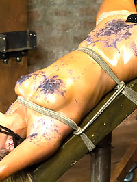 Horny Slut Cant Stop Fucking Herself : Welcome hot blonde babe Cameron Dee. Eager to please, we start with tying this bitch for you on camera into a nice tight chest harness. Bringing her down to her knees, she is made to impress by sucking a cock. We see how far down those luscious lips wrap around a dripping wet dick as the drool runs down her chest. She is made to stand with her cunt locked in place by the same cock and her torso attached to springs. Cameron is made to bounce on that cock, to ride it hard, and give a show about her eagerness to get off.Second Cameron is bound on the Y Frame, showing off her amazing figure. Oiled up, she gets treated with dripping hot wax all over her body, challenged to take the cane and pussy flogging. This cunt isnt built for pain, she is more of a pleasure model. Claire slides her fist into Cameron, inverts her on the frame, and relentlessly attacks for orgasms.Last but not least, our horny honey pot has not had nearly enough orgasms to our satisfaction. She is bound with a strict strappado on the sybian. A ball gag head harness and wrist bondage keep her at attention and the vibrating monster sybian between her legs keeps her desperately wanting more in her cum addiction. A rope is added to her neck bondage pulling her both backward and forward, locked in place. No longer able to move, a zipper is added to her torso and pulled at the height of what seems to be her most intense orgasm of the day, rounding her off as clearly well used.