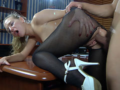 Barbara and Nicholas cool anal pantyhose action : Barbara readily climbed upon the knee of her boss demonstrating she wasn and apost wearing any panties underneath her black patterned pantyhose. What a slut! Those tights turned out to be conveniently crotchless too, so Nicholas got easy access to her nylon clad booty. She sucked off the employer like a slutty secretary she was and then got her ass nailed on the desk right through her fashion hose.