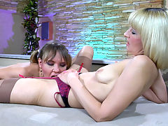 AmeliaB and Aubrey pussyloving mom in action : Horny mature lesbo Amelia B was all over pretty nubile girl Aubrey. She started it off with sultry French kissing followed by some necking and tit licking before the younger lesbian got ready for more. Then she was given a splendid rug munching master class by the seasoned blonde sappho before she could practice her own oral skills on the milf and aposs moist beaver eating it out like a good girl.