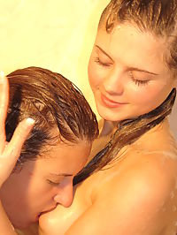 Hot Teen Girls : Passionate lesbian girls are happy to show you their hot lesbian games in the bathroom.