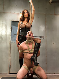 Sex and Cruelty : Mistress Gia Dimarco is pure sex and evil in this intense dungeon scene! Long time Divine Bitch slave, Jason Miller comes back to test his limits again after long hiatus. Mistress Dimarco goes from 0 to 60 within seconds of this kinky scene. Tough suspension bondage, water torture, caning, chastity, ass worship, tease and denial, strap-on ass fucking in suspension bondage and more!