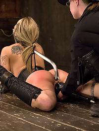 Claire Adams vs Bailey Blue : Strikingly beautiful but very shy Bailey has agreed to a day with me on Device. Impressed by her interest in pain and natural flexibility her day is centered around both. A recipe for the perfect storm in favor of me.Bailey begins moderately laced in a tight fitting corset, ballet boots, and high reaching posture collar. Her ankles are trapped open, making it impossible to close her legs, but everything looks much too loose. With my boot on her ass, I pull the laces of her corset closed and adjust the turnbuckle on her posture collar from tolerable to unreasonable. Her hair is then bound to a thick metal hook inserted into her ass. Her hands are pried open with pieces of metal, finger by finger. Everything is exposed and she is helpless to the torment that awaits.Second, I like dressing my bitches up. The more exotic they are, the more beautiful they become. In latex stockings, heels, garter, tight leather choking collar and the single leather armbinder, she is bent back over very uncomfortable metal. Her nipples beg for attention and snake bite suction tubes suck them up to attention. Today she gets to be tormented by electricity, I do wonder how she is going to respond. Shes tough... but how tough?Finally Bailey in installed in the Scavengers Daughter, an apparatus created in the era of Henry VIII, but with an upgrade. A long metal rod is added to keep her arms nice and open. She likes pain... so now its time to play and see what she can take. Once satisfied with her being pushed to the limit, she is laid on her back the rightful place of all sluts and thoroughly fucked. First in the ass, then in the pussy, then in the pussy and the ass. All of her holes are filled. She screams of ecstasy even while in a hellish metal device desperately, clinging to the pleasure.