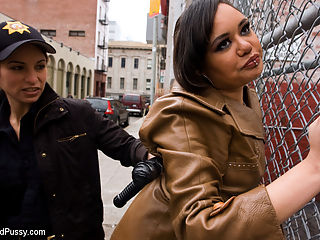 Street Girls : Some of our all time favorites in this fantasy take down! Enjoy this oldie but too good to let go!In this update Annie Cruz and Isis Love play two hookers who are tired of being harassed by the ignorant cops. When Officer Amber Rayne comes up and threatens to take them downtown Isis and Annie turn the tables and take Officer Rayne to THEIR station instead, a disgusting resident hotel room filled with all kinds of naughty toys. Amber finds herself handcuffed by her wrists and ankles to a filthy bed where Isis and Annie unleash their agression with whips, zappers, electric butt plugs and more. Officer Rayne is thoroughly humiliated when she gets her own nightstick shoved up her ass, DPed by two sexy hookers and then gets gallons of squirt in her gaping asshole! A great fantasy and humiliation update not to be missed!