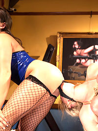 Horny lesbian sex slave spanked, fucked, and punished! : Lea Lexiss new 247 sex slave, Allie James, is too eager for her own good. When shes caught masturbating without permission, her Mistress teaches her a lesson.Leas training methods include OTK spanking, vicious nipple and pussy clamps, hot wax, clothespins, a dildo gag, pussy licking, ass worship, facesitting, multiple orgasms, and lesbian strap-on fucking.Will Allie learn her lesson, or will she ignore the rules for the pleasure of punishment?