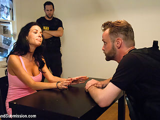 The Informant starring Veronica Avluv : In this Feature Presentation, Veronica Avluvs BDSM fantasies are fulfilled with James Deen. Veronica is a sexy house wife whose husband is into serious drug dealing that she doesnt know about. He finds out that the police are onto him and takes off without his wife knowing. After a refreshing afternoon shower, she steps out of the bathroom only to be surprised by the cops who have raided her house. They find her husbands drugs that he mistakenly left behind and arrest her. In an interrogation room, they offer to drop all charges if she goes undercover as an escort to help bust a criminal. Now this innocent house wife must have rough bondage sex with a perverted criminal for her freedom!