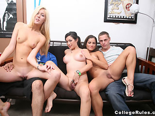 Its All About Sharing in College -6 : these group of swingers sharing partners got together in their dorm room and started recording the insane amount of fucking going on!