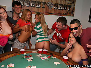 Playing 21 -2 : Once the girls started taking off their tops and making out with each other things became naughtier and next thing you a sexy party broke
