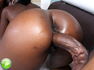 Slutty black slut takes it doggy up her huge phat ass!