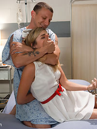 The Hostage Nurse : Nurse Lia Lor is caring for a man who was injured during his arrest and is now detained to a hospital bed. The accused criminal pleads his innocence and convinces Lia to help him escape. However, once free he overpowers Lia and holds her hostage in order to make demands for his getaway. But under these unusual circumstances, Lia Lor feels a strange attraction to her captor and submits to his sadistic treatment. Her darkest sexual desires are fulfilled as she is bound, dominated and fucked while held hostage! The very beautiful Lia Lor returns to Sex and Submission for an erotic role play and intense bondage fucking by Mr. Pete. She is manhandled, slapped and choked, face fucked and pounded in her wet pussy while restrained. Pete ties her down to a medical table with her head hanging off the edge and thrusts his cock deep down Lias throat. Then he uses steels restraints and belts to fasten her down so that he can fuck her into oblivion!