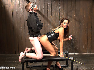 You smell like a bitch and not the good kind. : Mistress Francesca Le could give a shit if you get off nor if you ever are able to use your cock again. All she cares about is that she gets off and the only way to do that is through inflicting pain on her victims. Sebastian Keys puts up a good fight but is rendered helpless in the presence of such a wicked, evil goddess. She tortures his nasty ball sac and teases him with her beautiful round ass making him clean all the sweat from her puckered hole. Sebastian takes a big black strap-on cock in his ass but Francesca isnt satisfied until she has her entire fist in his greedy asshole!