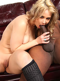 Stacked blond beauty fucks and sucks huge black dick