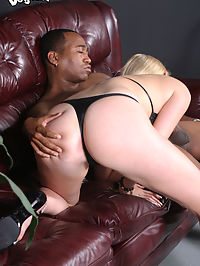 Hot blonde gets interracial creampie